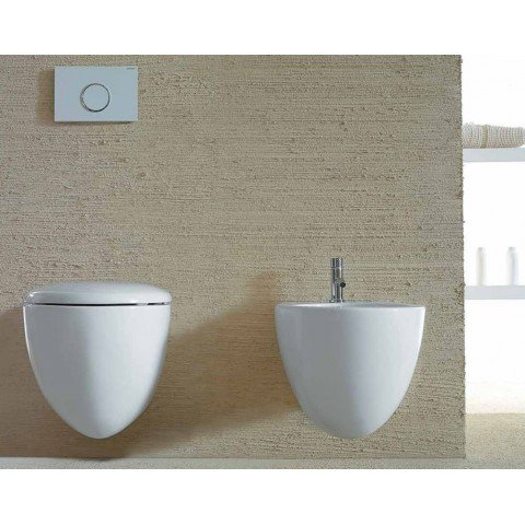 GLOBO SPA BOWL+ SET VASO SOSPESO S/BRIDA 55X38 C/COPRIVASO SOFT-CLOSE+ BIDET SOSPESO
