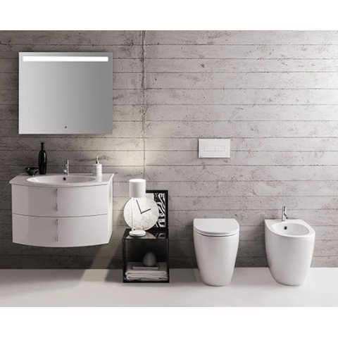 4ALL SET VASO MULTI 54.36 S/BRIDA C/COPRIVASO SOFTCLOSE + BIDET MULTI 54.36 FILO PARETE