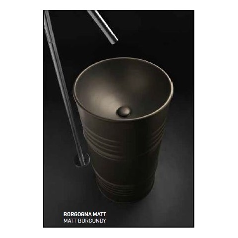 KERASAN ARTWORK LAVABO FREESTANDING BARREL BORGOGNA MATT