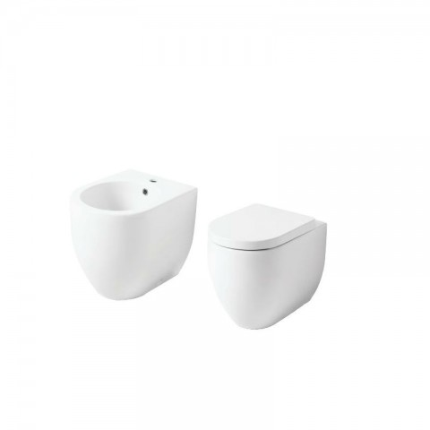 FLO -set- VASO NORIM 52 S/BRIDA C/COPRIVASO  SOFT CLOSE + BIDET 52 FILO PARETE