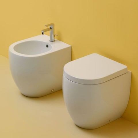 FLO -set- VASO A TERRA 48 C/COPRIVASO SLIM SOFT CLOSE+BIDET A TERRA 48