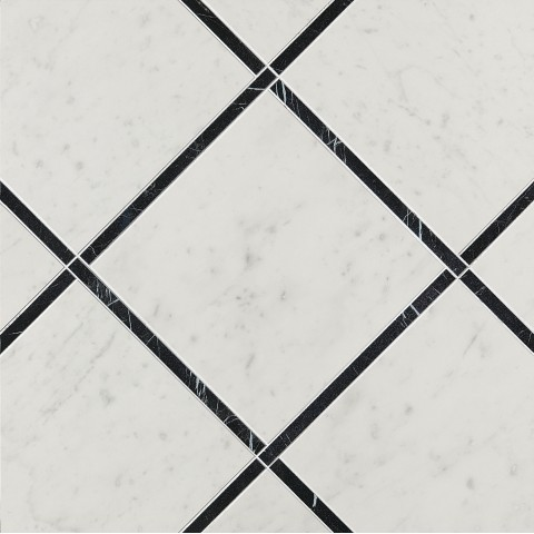 FAP CERAMICHE ROMA DIAMOND INCROCI CARRARA NERO REALE INS. 60X60 RECTIFIÉ