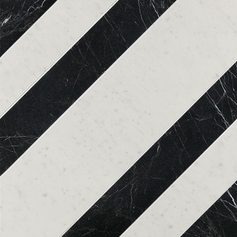 ROMA DIAMOND RIGHE CARRARA NERO REALE INS. 60X60 RETT