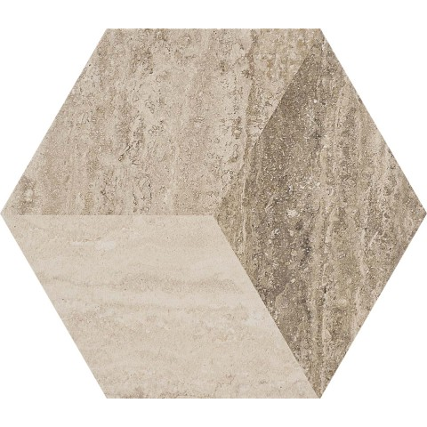 ALLMARBLE TRAVERTINO DECORO 21X18,2