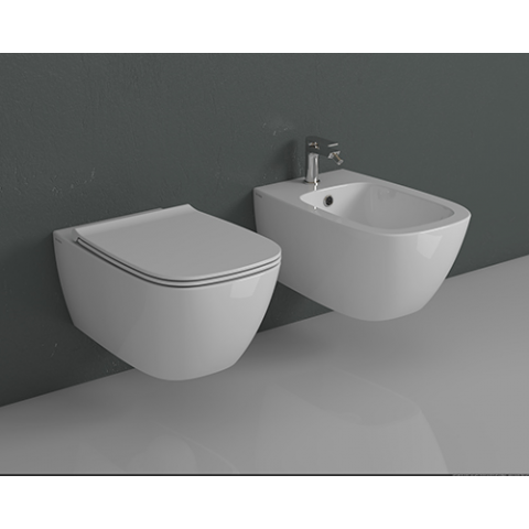 GENESIS SET VASO SOSPESO 55.36 S/BRIDA C/COPRIVASO SLIM SOFT CLOSE + BIDET  SOSPESO 55.36