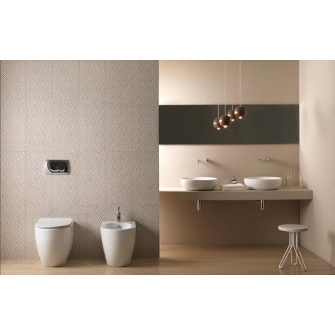 LIKE SET VASO S/BRIDA C/COPRIVASO SOFT CLOSE + BIDET A TERRA FILO PARETE