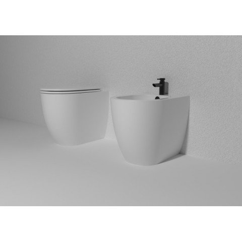 GSG LIKE SET VASO S/BRIDA C/COPRIVASO SLIM SOFT CLOSE + BIDET A TERRA FILO PARETE BIANCO OPACO