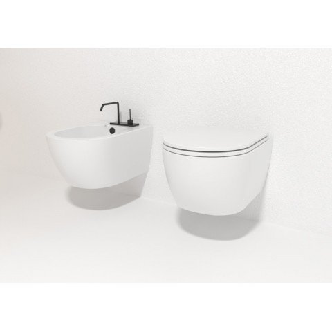 LIKE SET VASO S/BRIDA C/COPRIVASO SLIM SOFT CLOSE + BIDET SOSPESO BIANCO OPACO
