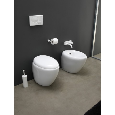 TOUCH SET VASO S/BRIDA C/COPRIVASO SLIM SOFT CLOSE + BIDET A TERRA FILO PARETE