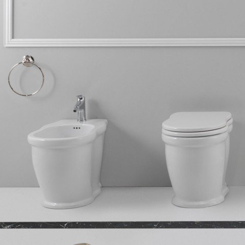 TIME SET VASO C/COPRIVASO SOFT CLOSE + BIDET A TERRA FILO PARETE