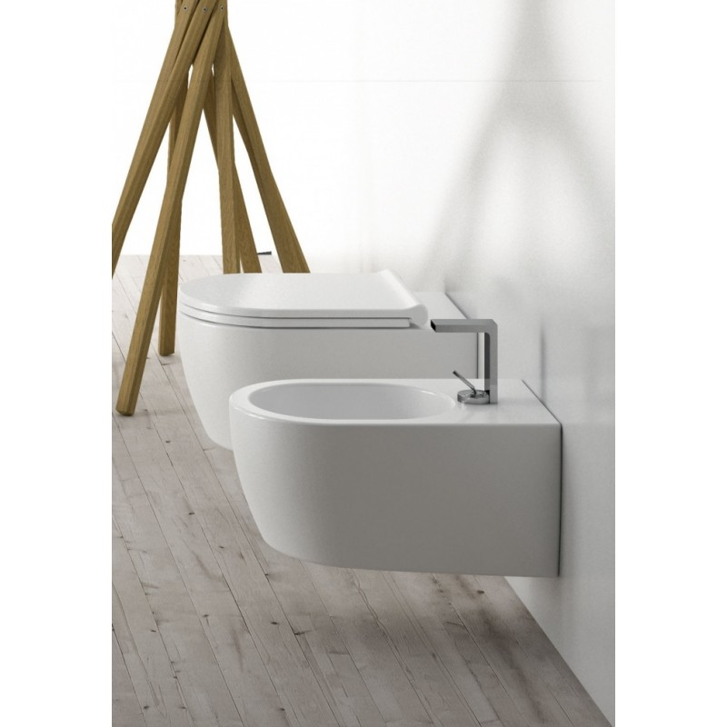 SANITARI CIELO SMILE SET VASO S/BRIDA C/COPRIVASO SLIM SOFT CLOSE + BIDET SOSPESO