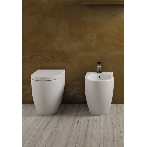 SANITARI CIELO SMILE SET VASO C/COPRIVASO SLIM SOFT CLOSE + BIDET A TERRA FILO PARETE