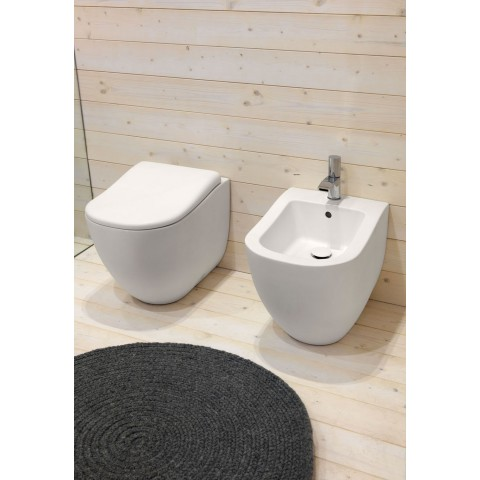 SANITARI CIELO FLUID SET VASO C/COPRIVASO SOFT CLOSE + BIDET A TERRA FILO PARETE