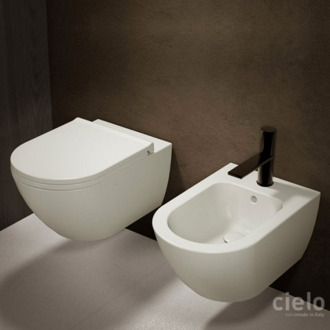 SANITARI CIELO ENJOY SET VASO S/BRIDA C/COPRIVASO SLIM SOFT CLOSE + BIDET SOSPESI