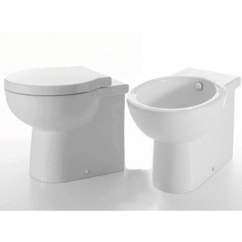 EASY ROUND SET VASO C/COPRIVASO SOFT CLOSE + BIDET A TERRA FILO PARETE