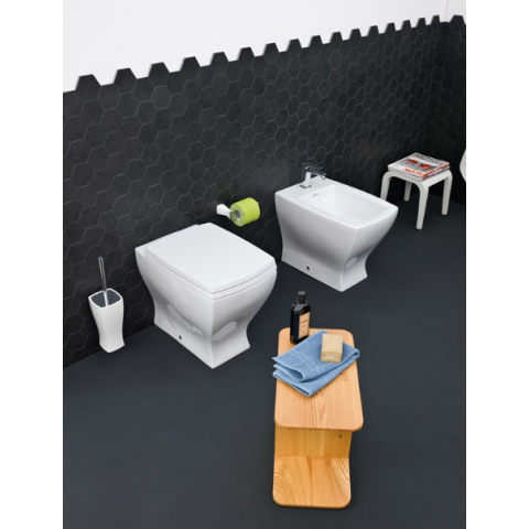 JAZZ SET VASO C/COPRIVASO SOFT CLOSE + BIDET A TERRA FILO PARETE