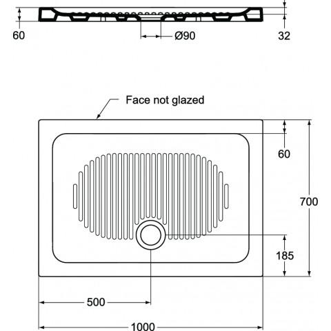 Ideal Standard Connect Piatto Doccia In Ceramica 100x70 Sp 6 Cm F