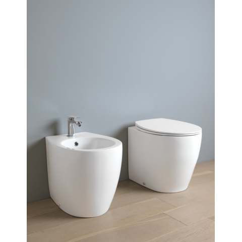 ARTCERAM SRL STEP SET VASO C/COPRIVASO SLIM SOFT CLOSE + BIDET A TERRA FILO PARETE