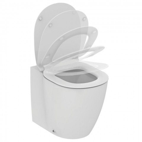 IDEAL STANDARD CONNECT VASO FILO PARETE C/SISTEMA AQUABLADE COPRIVASO SLIM SOFT CLOSE